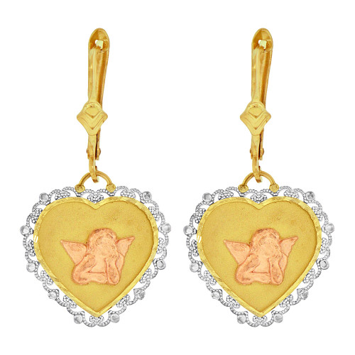 14k Tricolor Gold, Fancy Filigree Heart Shape Angel Dangling Earring (E079-023)