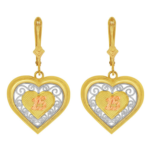 14k Tricolor Gold, Fancy Filigree Heart Shape Quinceanera 15 Anos Dangling Earring (E079-024)