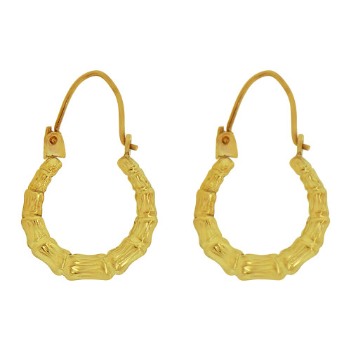 14k Yellow Gold, Small Hollow Tapered Tube Bamboo Hoop Earring 10mm Inner Diameter (E080-007)