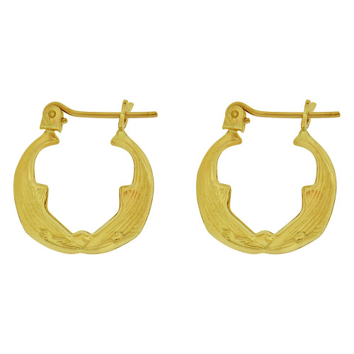 14k Yellow Gold, Small Hollow Tapered Tube Dolphin Whale Hoop Earring 16mm Diameter (E080-013)
