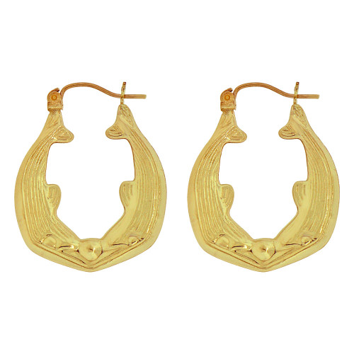 14k Yellow Gold, Hollow Tapered Tube Dolphin Whale Hoop Earring 23mm Diameter (E080-014)