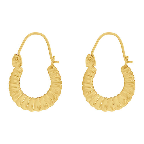 14k Yellow Gold, Small Hollow Tapered Tube Abstract Small Hoop Earring (E080-021)