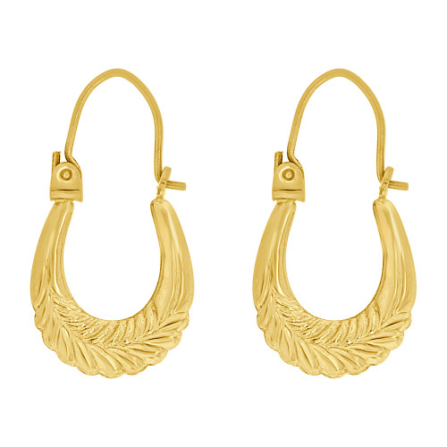 14k Yellow Gold, Small Hollow Tapered Tube Abstract Small Hoop Earring (E080-022)