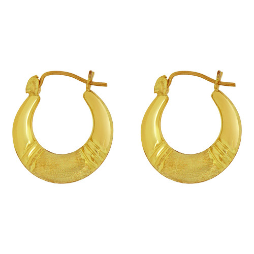 14k Yellow Gold, Small Hollow Tapered Tube Design Hoop Earring (E080-025)
