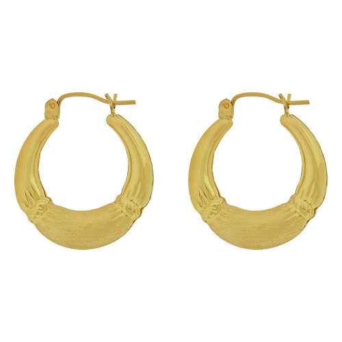 14k Yellow Gold, Hollow Tapered Tube Design Hoop Earring with Snap Down Clasps (E080-026)