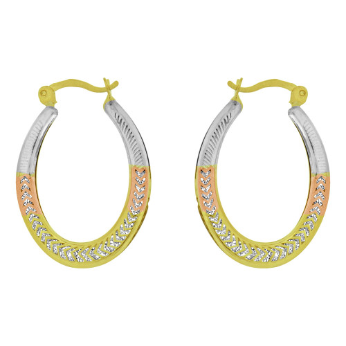 14k Yellow Gold, Rose & White Rhodium, Hollow Hoop Earring Created CZ Crystals (E080-030)
