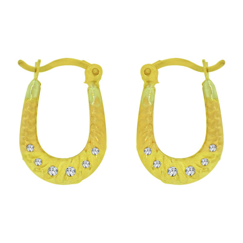 14k Yellow Gold, Small Hollow Hoop Earring Created CZ Crystals (E080-031)