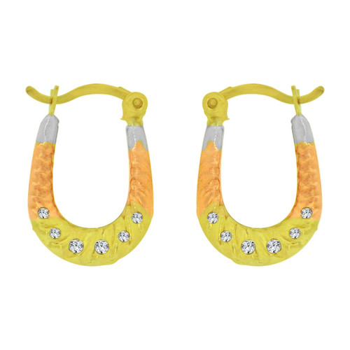 14k Yellow Gold, Rose & White Rhodium, Small Hollow Hoop Earring Created CZ Crystals (E080-033)