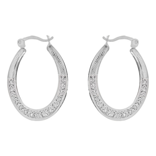 14k Gold White Rhodium, Hollow Hoop Earring Created CZ Crystals (E080-080)