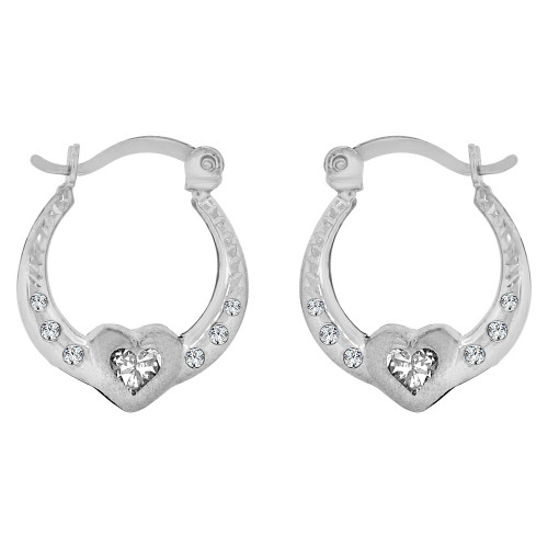 14k Gold White Rhodium, Heart Small Hollow Hoop Earring Created CZ Crystals (E080-082)
