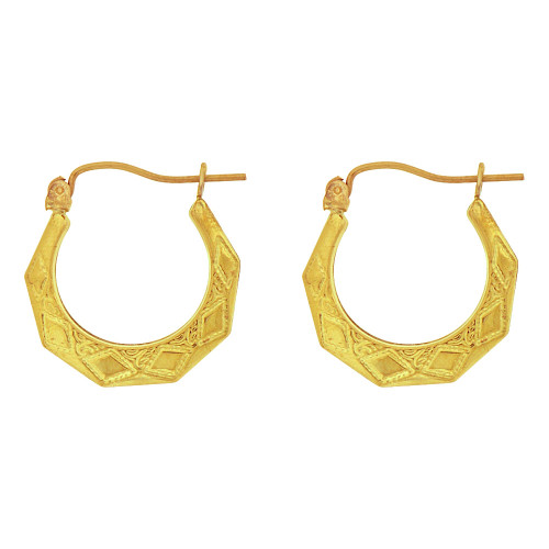 14k Yellow Gold, Small Hollow Tapered Tube Abstract Hoop Earring  (E081-004)