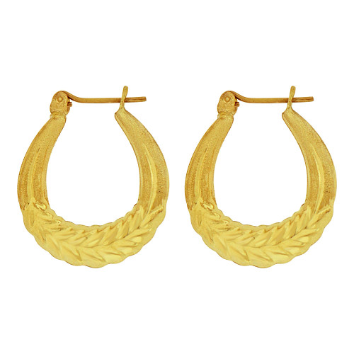 14k Yellow Gold, Hollow Tapered Tube Abstract Leaf Hoop Earring (E081-006)