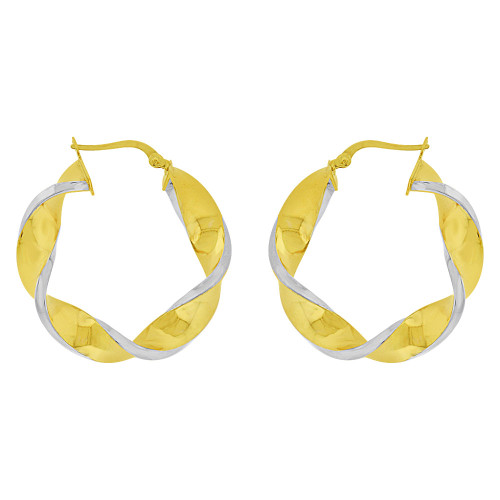 14k Yellow Gold White Rhodium, Hollow 6mm Tube Twisted Hoop Earring 33mm Outer Diameter (E082-003)