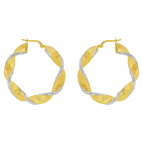 14k Yellow Gold White Rhodium, Hollow 6mm Tube Twisted Hoop Earring 39mm Outer Diameter (E082-004)