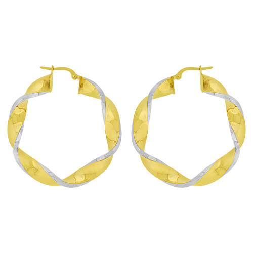 14k Yellow Gold White Rhodium, Hollow 6mm Tube Twisted Hoop Earring 42mm Outer Diameter (E082-005)