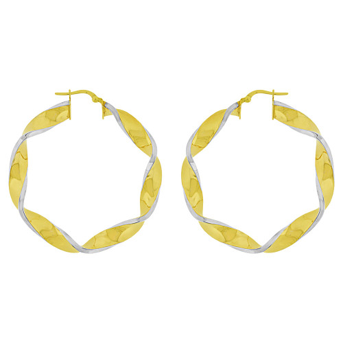 14k Yellow Gold White Rhodium, Hollow 6mm Tube Twisted Hoop Earring 48mm Outer Diameter (E082-006)