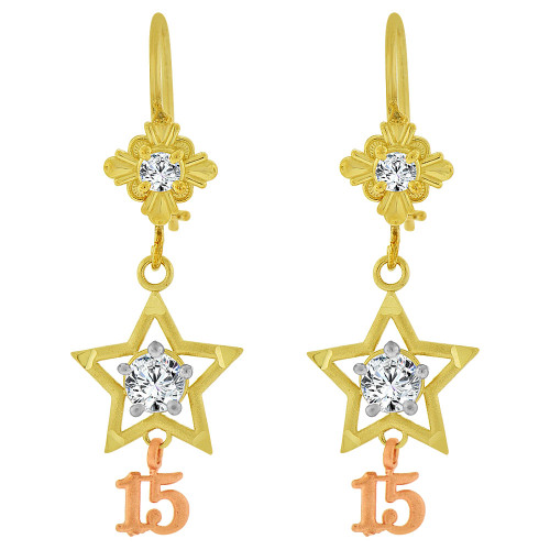 14k Yellow & Rose Gold, Star 15 for Quinceanera Dangling Earring Created CZ Crystals (E083-006)