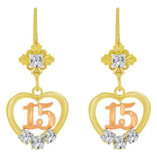 14k Yellow & Rose Gold, Heart 15 for Quinceanera Dangling Earring Created CZ Crystals (E083-007)