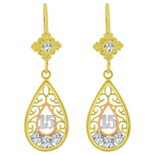 14k Yellow & Rose Gold, Filigree 15 for Quinceanera Dangling Earring Created CZ Crystals (E083-008)