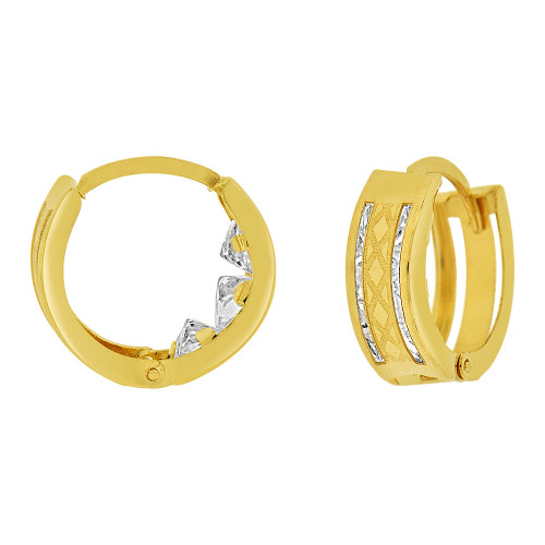 14k Yellow Gold, Small Huggies Earring 10mm Inner Diameter Created CZ Laser Engraved (E083-009)