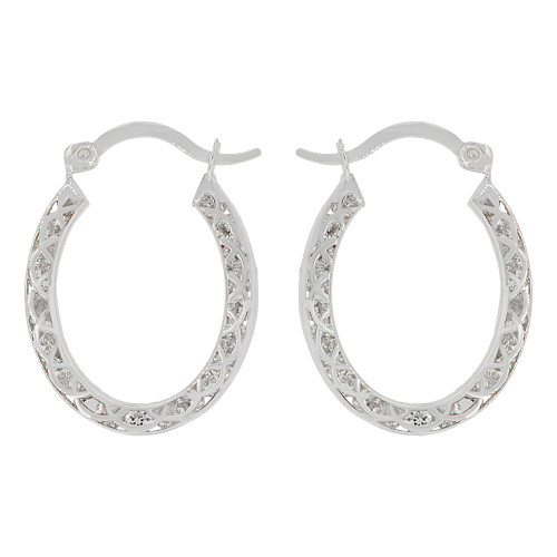 14k Gold White Rhodium, Flattened Oval Hoop Earring Created CZ 12mm Inner Diameter (E085-058)