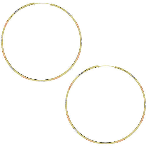 14k Gold Rose & White Rhodium, Small Fancy Hoop Earring 65mm Inner Diameter (E088-008)
