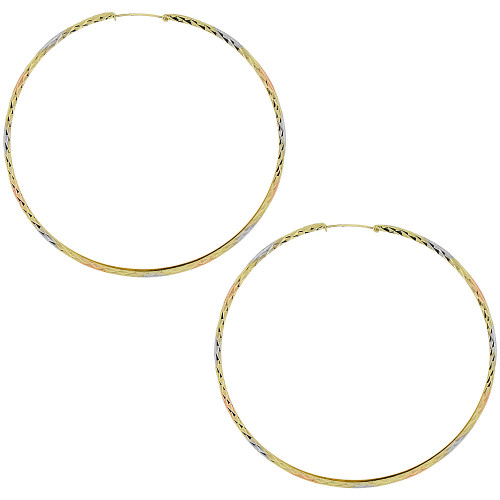 14k Gold Rose & White Rhodium, Small Fancy Hoop Earring 60mm Inner Diameter (E088-007)