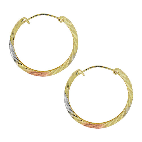 14k Gold Rose & White Rhodium, Small Fancy Hoop Earring 17mm Inner Diameter (E088-002)
