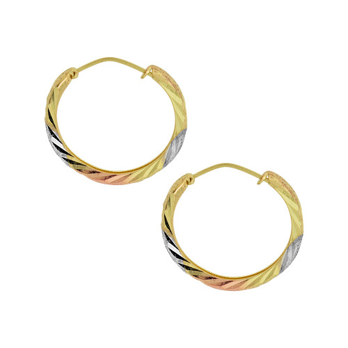 14k Gold Rose & White Rhodium, Small Fancy Hoop Earring 15mm Inner Diameter (E088-001)