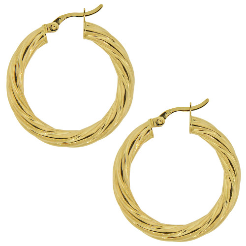 14k Yellow Gold, Fancy Swirl Twist Design Hollow Tube Hoop Earring 27mm Diameter (E088-102)