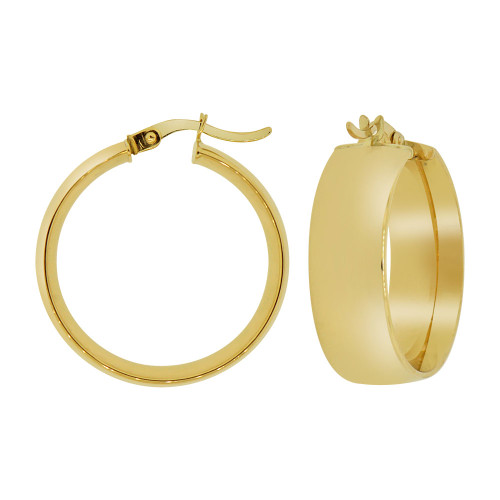14k Yellow Gold,  Classic & Elegant Plain Hollow Tube Hoop Earring 23mm Diameter (E088-202)