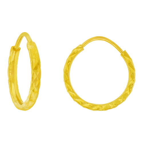 14k Yellow God, Small Classic Thin Hollow Tube Endless Sparkly Earring 12mm Inner Diameter (E086-001)