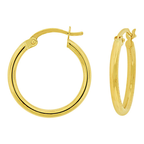 14k Yellow Gold, Classic Plain Hollow Tube Hoop Earring 15mm Inner Diameter (E087-002)