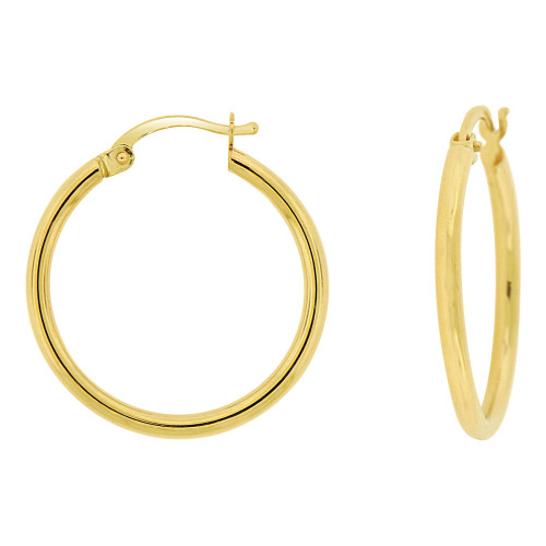 14k Yellow Gold, Classic Plain Hollow Tube Hoop Earring 20mm Inner Diameter (E087-003)