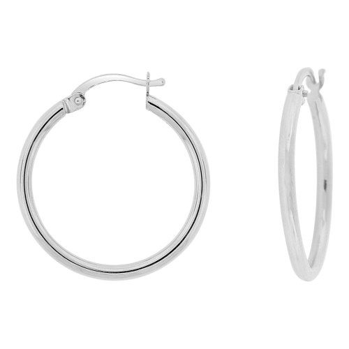 14k Gold White Rhodium, Classic Plain Hollow Tube Hoop Earring 20mm Inner Diameter (E087-053)