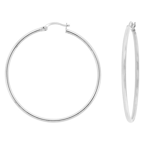 14k Gold White Rhodium, Classic Plain Hollow Tube Hoop Earring 40mm Inner Diameter (E087-055)