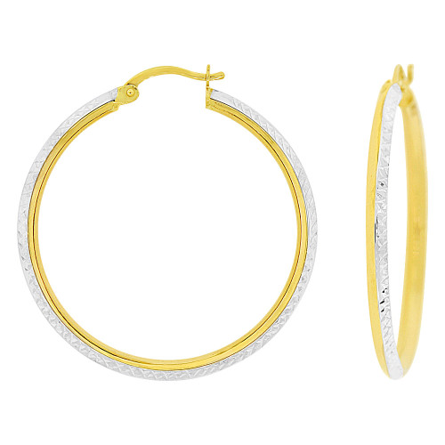 14k Yellow Gold White Rhodium, Fancy Sparkly Hollow Tube Hoop Earring 30mm Inner Diameter (E087-011)