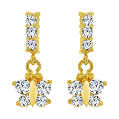 14k Yellow Gold, Mini Size Butterfly Dangling Earring Created CZ Screw Back (E100-007)