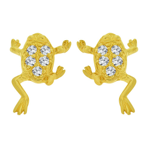 14k Yellow Gold, Mini Size Frog Toad Earring Created CZ Screw Back (E100-011)