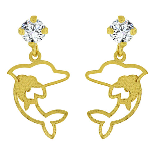 14k Yellow Gold, Small Jumping Dolphin Stud Earrings Screw Back Created CZ (E100-015)