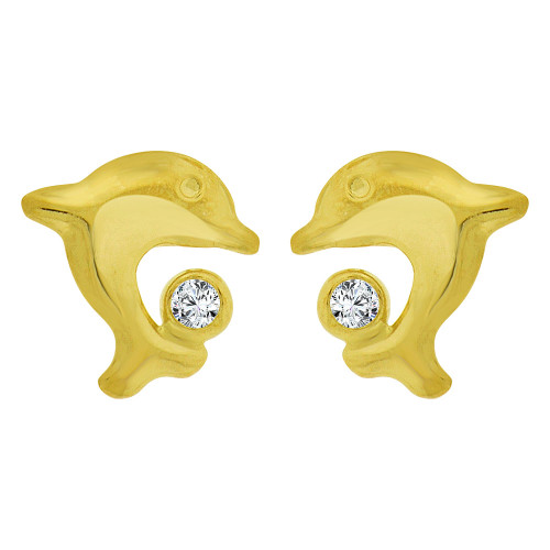 14k Yellow Gold, Small Jumping Dolphins Stud Screw Back Earring Created CZ (E100-017)