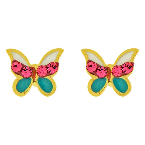 14k Yellow Gold, Mini Baby Size Enamel Coated Butterfly Stud Screw Back Earring Created CZ (E100-019)