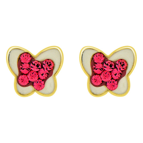 14k Yellow Gold, Mini Baby Size Enamel Coated Butterfly Stud Screw Back Earring Created CZ (E100-020)