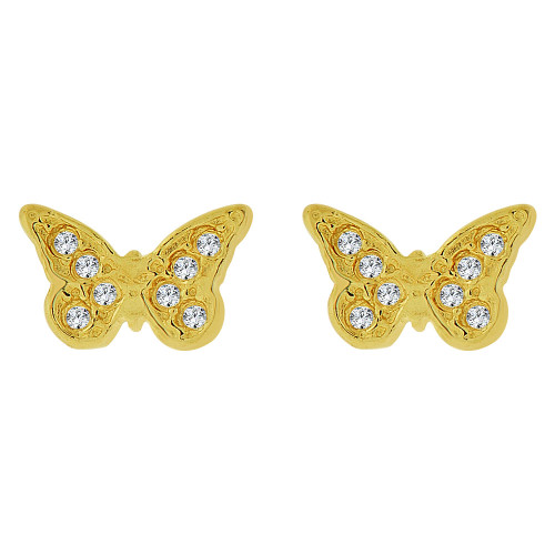 14k Yellow Gold, Mini Baby Size Butterfly Stud Screw Back Earring Created CZ (E100-021)