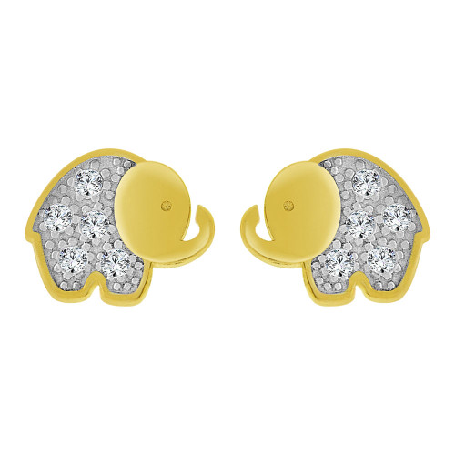 14k Yellow Gold White Rhodium, Mini Baby Size Elephant Stud Screw Back Earring Created CZ (E100-022)