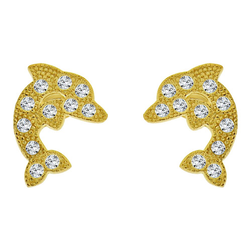 14k Yellow Gold, Mini Baby Size Dolphin Stud Screw Back Earring Created CZ (E100-023)