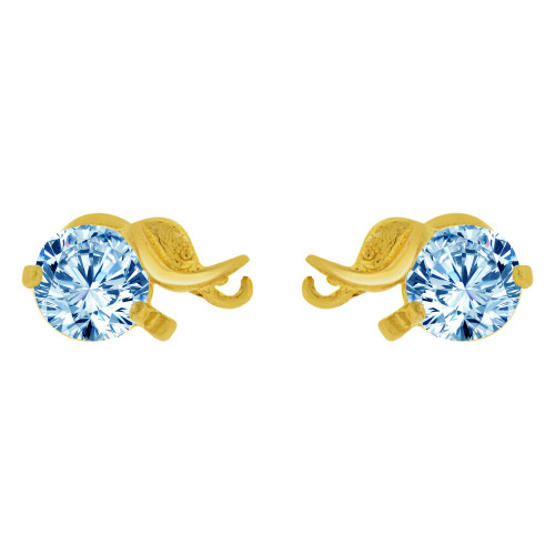 14k Yellow Gold, Mini Elephant Stud Screw Back Earring Aqua Blue Created CZ (E100-063)