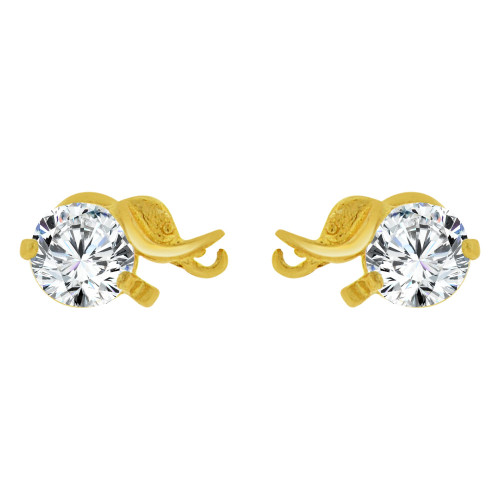 14k Yellow Gold, Mini Elephant Stud Screw Back Earring Created CZ (E100-064)