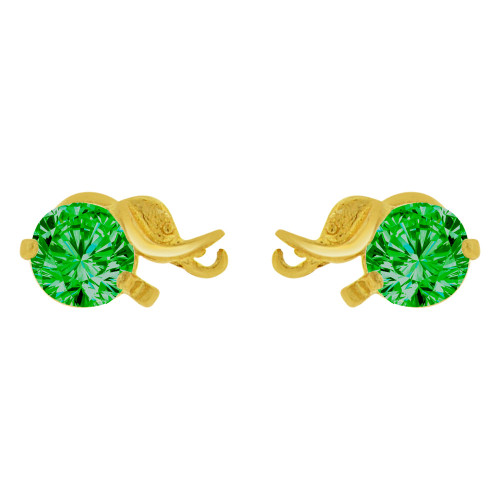 14k Yellow Gold, Mini Elephant Stud Screw Back Earring Green Created CZ (E100-065)