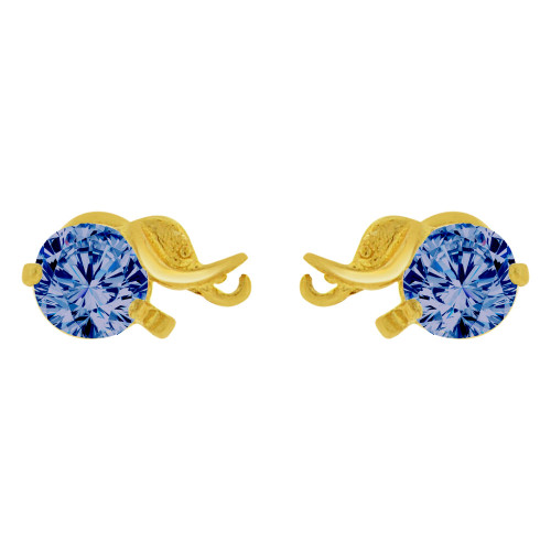 14k Yellow Gold, Mini Elephant Stud Screw Back Earring Red Created CZ (E100-069)
